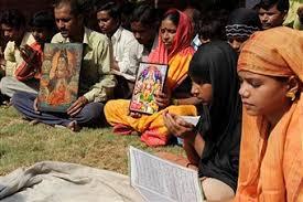 Hindus & Muslims pray side by side