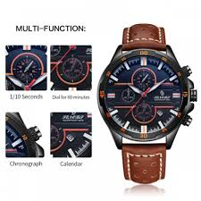 watch mens watches classic sport fashion leather band with calendar waterproof m