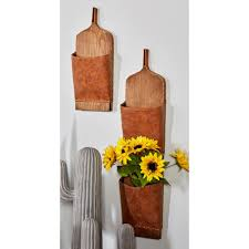 litton lane brown wood and leather wall mounted mail holders set of 3