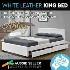 king bed frame size storage drawers faux leather pu upholstered base white abbey