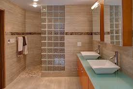 tile walk in showers without doors. Interesting Doors Glass Brick Wall Cream Bathroom Tiles Cabinet Light Blue Countertop  Rectangular Sink Mirror Brass Tap On Tile Walk In Showers Without Doors L