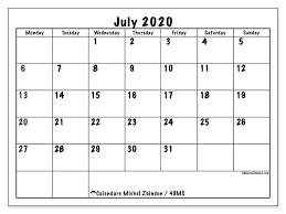 Calendar July 2020 Printable July 2020 Calendars Ms Michel Zbinden En