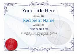 Basketball Certificate Templates Sports Certificate Template
