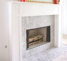 carrara bianco 3 hexagon mosaic tile fireplace