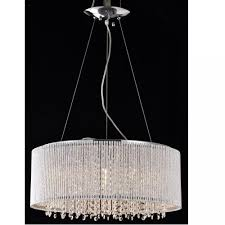 pendant chandelier twisted aluminum bar spiral shade 19 crystals round drumceiling lights