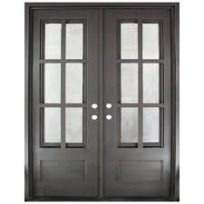 glass front doors with iron. Simple Iron 62 In X 815 Craftsman Classic 12 Lite Painted Oil Rubbed Bronze Clear Intended Glass Front Doors With Iron