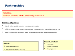 types of business ownerships partnerships types of business ownership business studies ppt