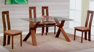 Modern Glass Kitchen Table Light Brown Modern Glass Top Dining Table W Optional Chairs