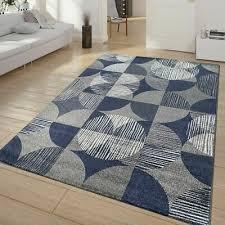 modern rug vintage style carpet geometric rugs circles retro mats blue grey new 6