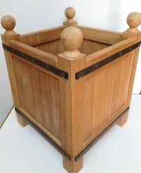 16 x 12 wooden plant pot holder stand heavy wood w metal