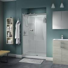 delta simplicity 48 in x 71 in semi frameless contemporary style sliding shower