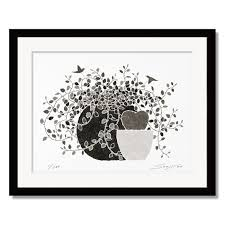 prints paintings of color 四切ri living and s to please foliage motif soujirou art made in japan framed painting leaf pattern art panel black