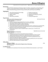 Medical Equipment Repair Sample Resume Best Medical Equipment Technician Resume Example LiveCareer 1