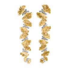 erfly ginkgo chandelier earrings w diamonds in sterling silver 18k yellow gold
