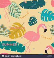 Topical Pattern Stunning Summer Pink Pastel Flamingo And Topical Exotic Leaves Pattern