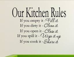 kitchen rules wall decor stickers