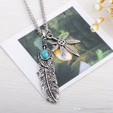 whole 2016 mens feather necklace vintage turquoise pendant feather leaf claw sweater chain collares mujer steam punk choker necklace pendants necklaces