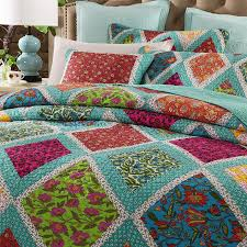 Amazon.com: DaDa Bedding Cotton Patchwork Quilt - Fairy Forest ... & Amazon.com: DaDa Bedding Cotton Patchwork Quilt - Fairy Forest Glade Floral  Print Bedspread Set, Turquoise Real Patchwork, Queen, 3-Pieces: Home &  Kitchen Adamdwight.com