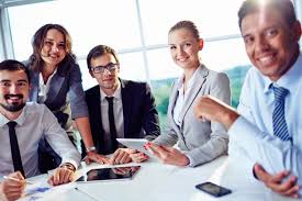 meeting free smiling businesspeople a business meeting photo free download