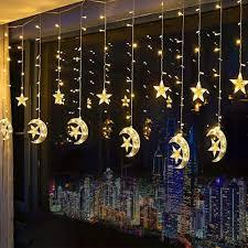 Fairy Lights Moon Led Star Curtain Lights Moon Star String Light 138 Leds 250cm Length With 8 Modes Plug In Fairy Lights Christmas Window Curtains Light For Home