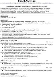 Sample Resume Attorney