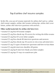 Airline Resume Samples Top 8 Airline Chef Resume Samples