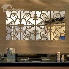 54 Unique Floral Pattern Removable Mirror 3D Wall Sticker