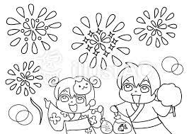 夏祭り 花火のぬりえイラスト No 845907無料イラストならイラストac