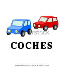 Word Cars Plural Word Spanish Language Cars Stock Illustration Royalty Free