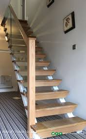 open tread stairs. Exellent Stairs Open Tread Refurbishment With Cutstring Glass On Tread Stairs Pinterest