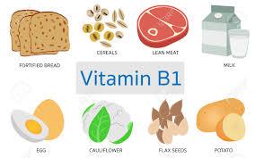 Vitamin B1 Food Chart Vitamin B1 Food Sources On White Background
