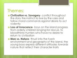 "lord of the flies"" william golding explain the title  the  4 themes  civilization"