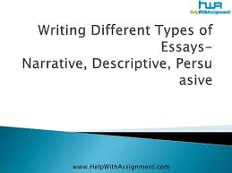 tips for an application types of descriptive essays some types of essays are descriptive essays the aim of descriptive essays is to provide a vivid picture of a person location object event or debate