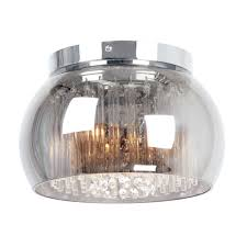 details about smoked glass with clear cystal glass droppers catarina flush ceiling light