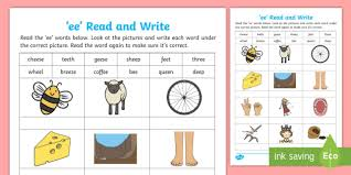 Long vowel sounds are vowel sounds whose pronunciation is the same as its letter name. Ee Read And Write Worksheet Teacher Made