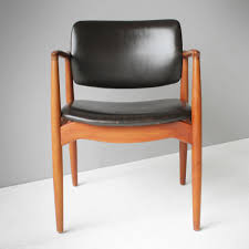 teak and leather captain s chair by eric buck for Ø mobler 1955