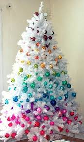 Hate the fake white tree. Love the colors. That's my goal this year when  all the stuff goes on sale I'm going to buy all the colors of the rainbow  balls and ...