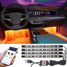App Controlled Interior Car Lights Jawat Car Interior Lights Multicolor Music Car Led Strip