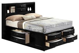 Great Queen Size Platform Bed With Drawers with Ireland Black Finish