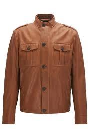 hugo boss light brown slim fit leather field jacket style jeah 50375209