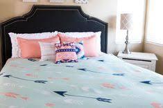 Coral Mint And Blue Aztec Bedroom, Aztec Duvet And Canvas Wall Art