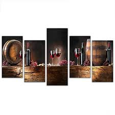 asenart 5 panels canvas prints fruit g red wine glass picture wall art paintngs for dinning room kitchen bar decor pictures size 150x80cm