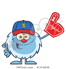 sports fan clipart. clipart of a cartoon yeti abominable snowman sports fan, wearing baseball cap and foam fan
