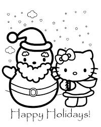 Hello Kitty E Il Pupazzo Di Neve Disegni Da Colorare Gratis