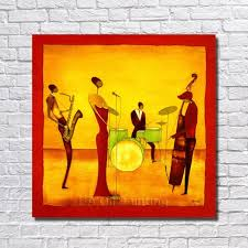 free handpainted abstract jazz band oil painting on canvas paintings wall art home decoration wall