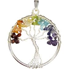 gemstone chip wire tree of life pendant