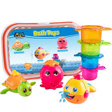iplay ilearn bath toy bathtub water shower play set octopus swimming turtle animal stacking cups with storage fun gift for age 6 9 12 18 months and