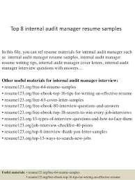 Audit Manager Resume Samples Top 8 Internal Audit Manager Resume Samples