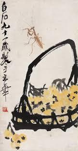 chinese brush painting master qi baishi mantis loquats