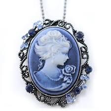 light blue cameo pendant necklace charm